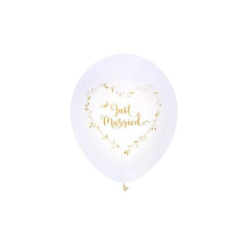 "Balony ""Just Married"", biały, SANTEX, 10"" 8 szt"