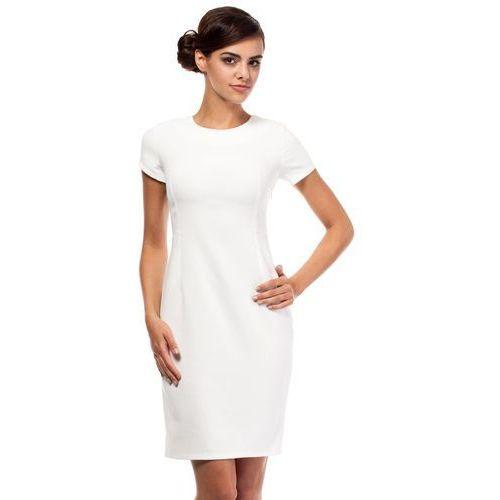 Ecru Ołówkowa Sukienka z Wycięciami na Plecach z Krótkim Rękawem, kolor beżowy