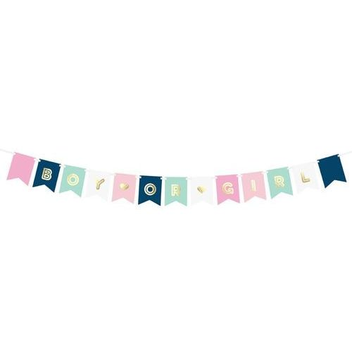 Party deco Baner na baby shower boy or girl - 175 cm - 1 szt.