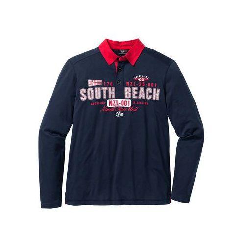 Bonprix Shirt polo z długim rękawem regular fit  ciemnoniebieski