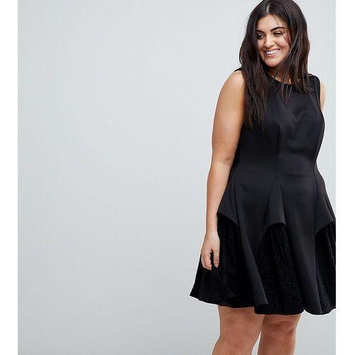 ASOS CURVE Scuba Lace Godet Mini Dress - Black, 1 rozmiar