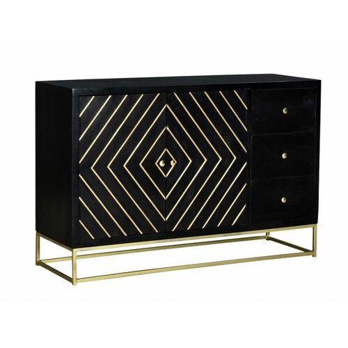 Vente-unique Bufet prismin w stylu art déco– 2-drzwiowy z 3 szufladami – drewno mango i metal – kolor czarny i złoty