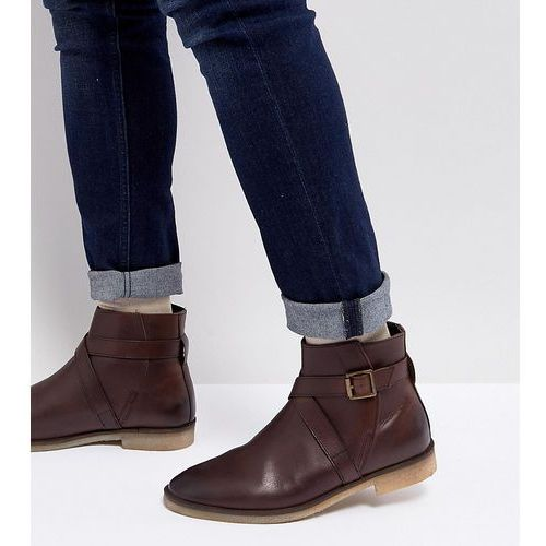 Asos wide fit chelsea boots in brown leather with strap detail and natural sole - brown