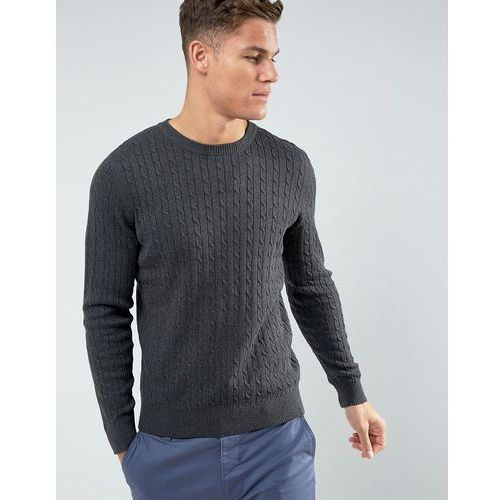 knitted jumper with cable knit detail in 100% organic cotton - grey marki Selected homme