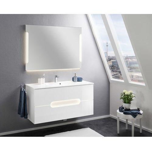 Badmobil by fackelmann Zestaw białych mebli łazienkowych alpha 120 cm z lustrem led oraz czujnikiem ruchu