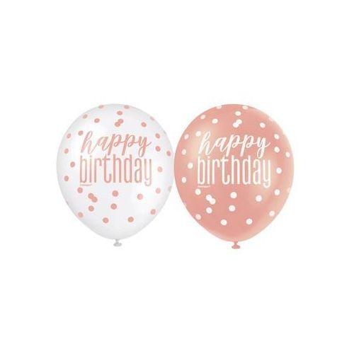 Balony lateksowe Happy Birthday różowe złoto - 30 cm - 6 szt.