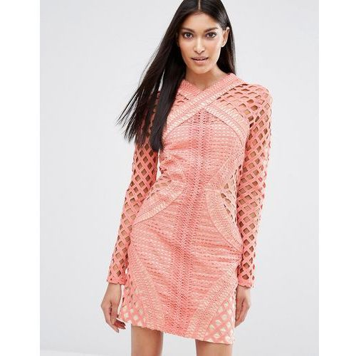 Missguided Long Sleeve Lace Cut Out Dress - Pink