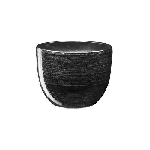 Doniczka ceramiczna 16 cm czarno-srebrna BARYŁKA (5901602234273)