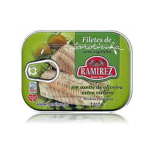 Filety z sardynek portugalskich w oliwie extra virgin, z kawałkami oliwek Ramirez 100g. (5601010211087)