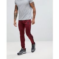 Gym King Logo Skinny Poly Joggers In Burgundy With Side Stripes - Red