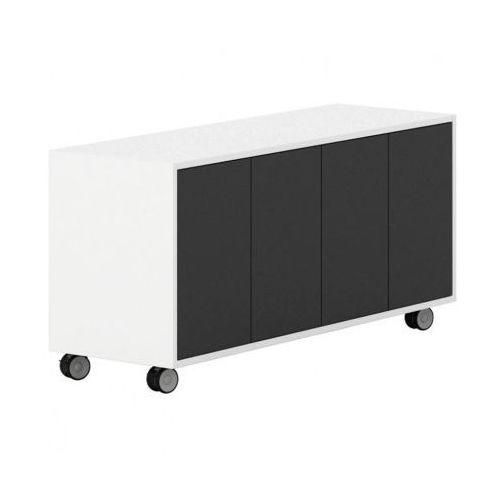 Plan Szafka na kółkach z drzwiami white layers, czarne drzwi