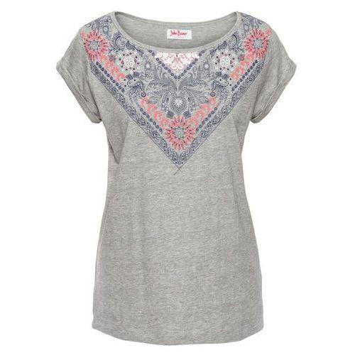 T-shirt z nadrukiem, krótki rękaw jasnoszary melanż - niebieski z nadrukiem marki Bonprix
