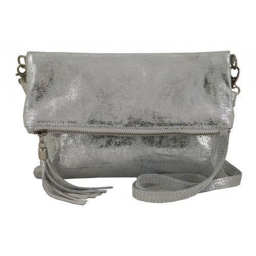 Modne torebki listonoszki ze skóry metalizowanej - Barberini's - Srebrny, kolor szary