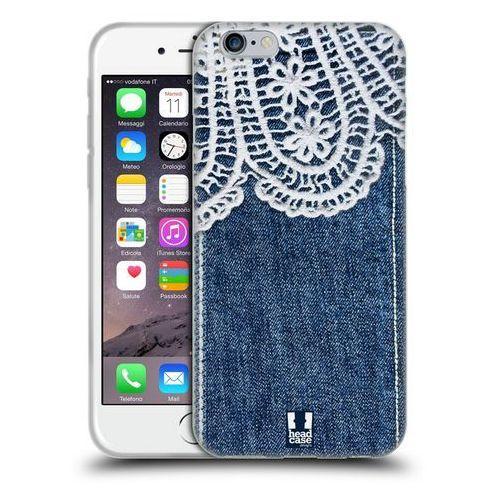 Etui silikonowe na telefon - jeans and laces white lace over blue denim marki Head case