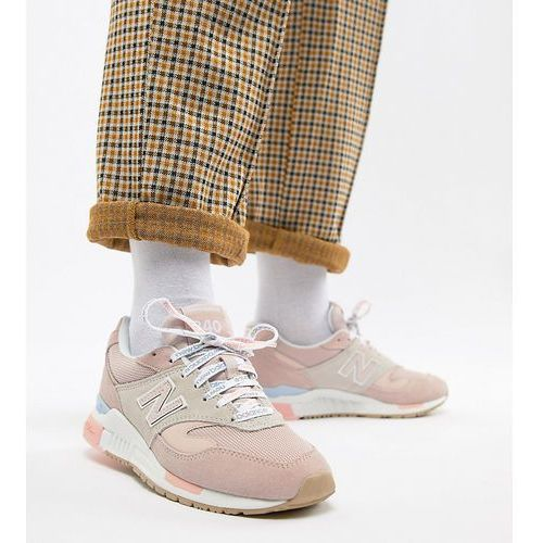 pink 840 trainers with logo laces - pink marki New balance