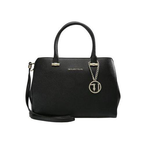 Trussardi Jeans LEVANTO ECOSAFFIANO TOTE BAG Torebka black, kolor czarny