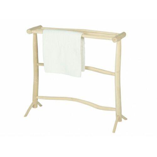Wieszak na ręczniki z 3 drążkami bada – lite drewno tekowe – kolor naturalny marki Vente-unique