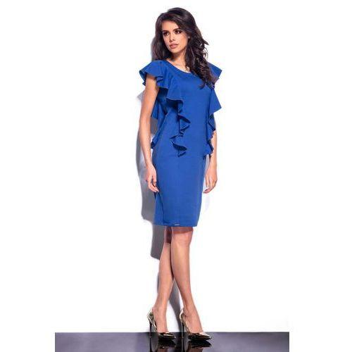Niebieska sukienka midi z pionowymi falbankami marki Lemoniade