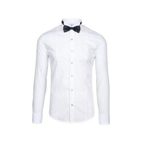 Koszula męska z długim rękawem biała 4702 muszka+spinki marki Bolf