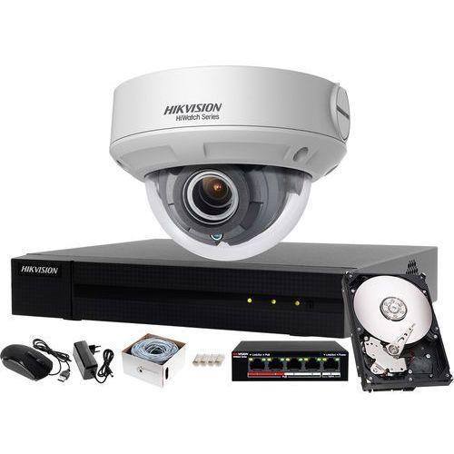 Tani zestaw do monitoringu mieszkania, podwórka rejestrator ip hwn-4104mh + 1x kamera fullhd hwi-d640h-v + akcesoria marki Hikvision hiwatch