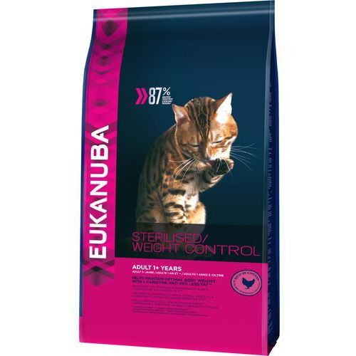 Eukanuba 3 kg / 4 kg + animonda milkies harmony - anti hairball, 30 g gratis! - sterilised / weight control adult, 3 kg