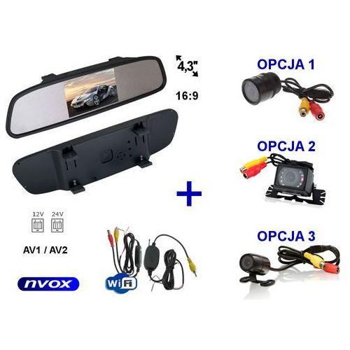 """Nvox Zestaw monitor lcd 4,3"""" w lusterku wstecznym 12v 24v samochodowa kamera cofania i bezprzewodowy moduł wifi (5909182421717)"""