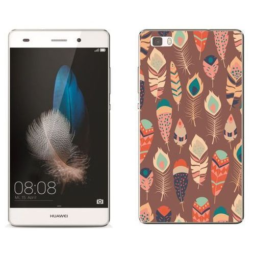 Zolti Huawei p8 lite - etui na telefon - kolekcja boho - piórka na brązowym tle - j17