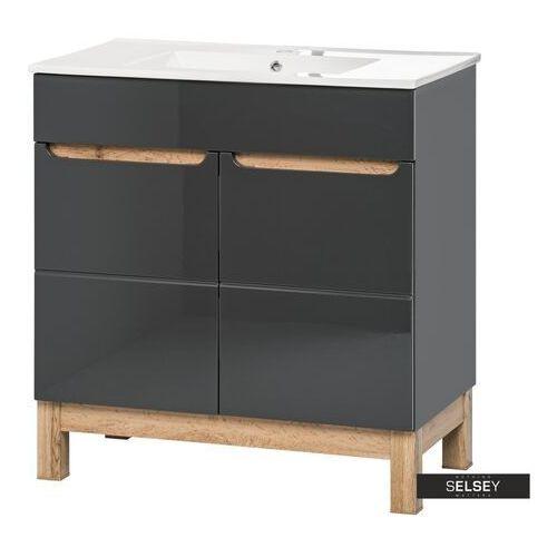 szafka pod umywalkę jakkarta grafitowa 80 cm marki Selsey