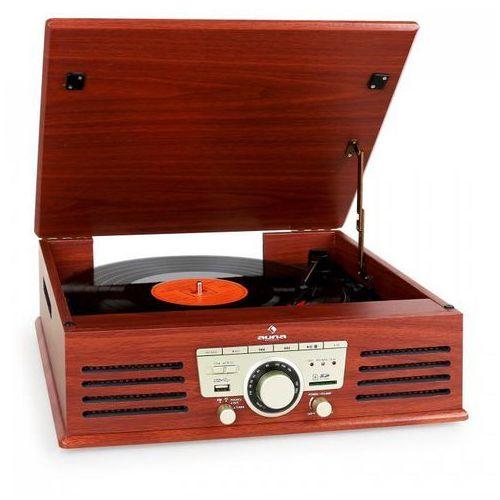 tt-92b gramofon wbudowany głośnik usb sd aux fm wiśniowy marki Auna