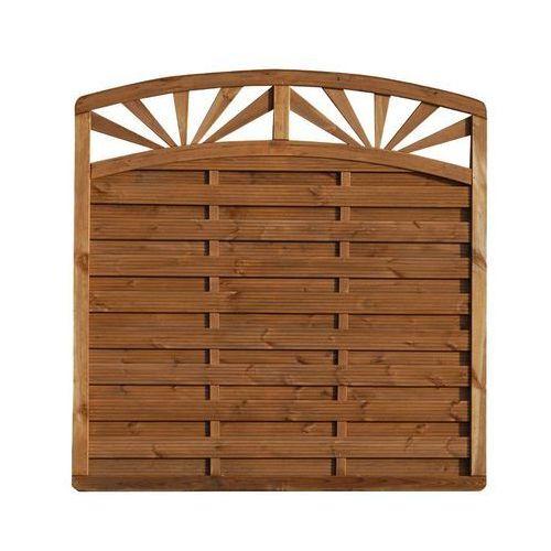 Płot szczelny z łukiem i dekorem 180x195 cm drewniany SUNSET WERTH-HOLZ