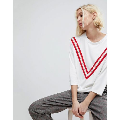 Stradivarius oversized tee with embellished arm - white