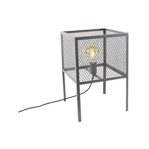 Qazqa Przemysłowa lampa stołowa antyczne srebro - cage robusto