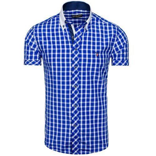 Chabrowa koszula męska elegancka w kratę z krótkim rękawem Bolf 5531 - CHABROWY, kolor niebieski