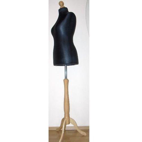 Manekin krawiecki - tors kobiecy krótki czarny - rozmiar 38 na drewnianym, jasnym trójnogu, 00377