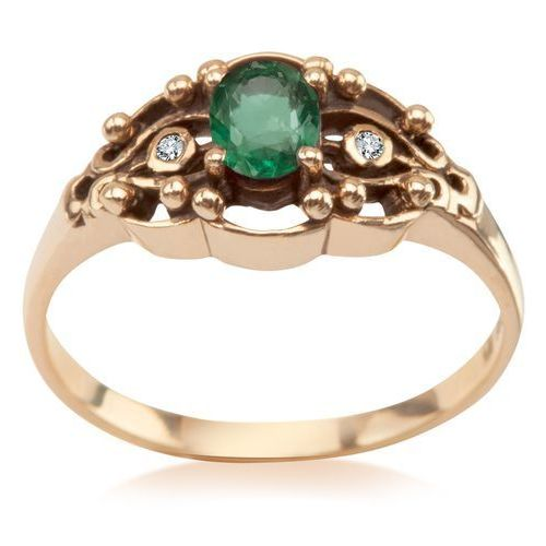Kolekcja wiktoriańska - pierścionek z diamentami i szmaragdem marki Biżuteria yes