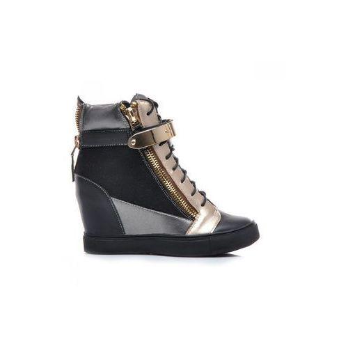 Efektowne trampki, sneakersy 6958b s1-1p czarny, Zoki