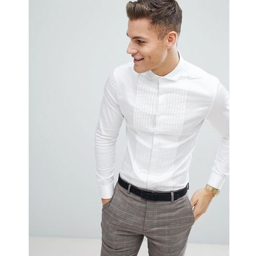 Asos wedding skinny fit sateen shirt with pleat detail in white with double cuff - white