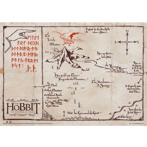 Antyczna mapa na pergaminie - the hobbit - edycja kolekcjonerska - reprodukcja, marki Gb