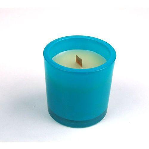 Świeca zapachowa Ombra Round turkusowa (intense aqua) marki SlowLight - Turkusowy