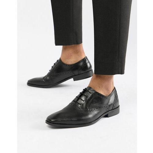 saffiano brogue shoes in black leather - black marki Dune