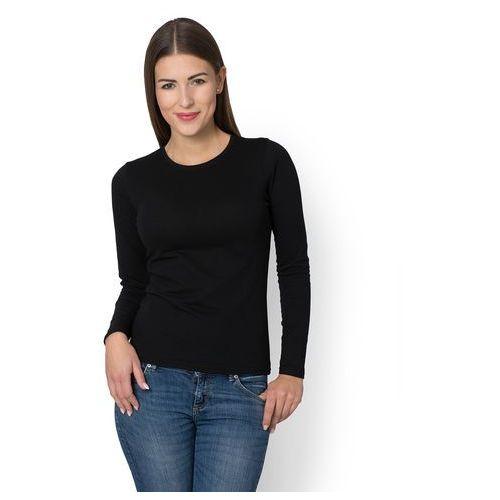 Damska koszulka z długim rękawem (bez nadruku, gładka) - czarna