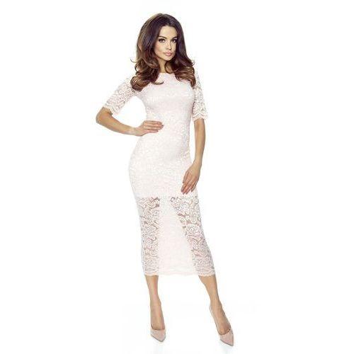 Jasno Różowa Ołówkowa Sukienka Midi z Koronki