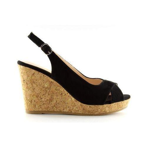 Buty obuwie damskie Sandałki na korkowym koturnie czarne 6421