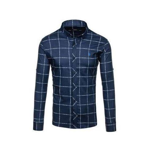 Koszula męska w kratę z długim rękawem granatowa denley 0280 marki Madmext