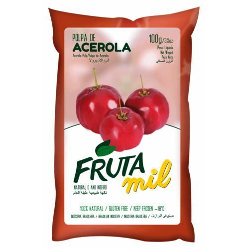 Acerola wiśnia z barbados miąższ (puree owocowe, pulpa, sok z miąższem) bez cukru marki Frutamil comércio de frutas e sucos ltda