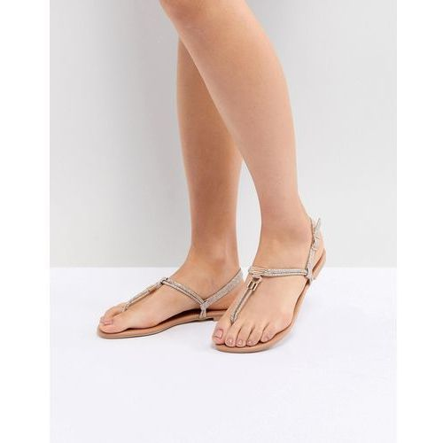 New look leather look toe post metal detail flat sandal - gold