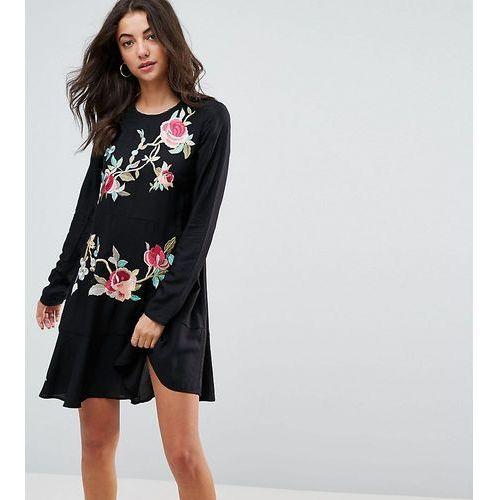 Asos tall embroidered drop waist mini dress - black