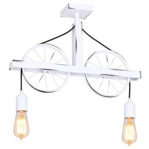 Lampa sufitowa adx 844h metalowa oprawa rustykalna koła rowerowe białe marki Aldex
