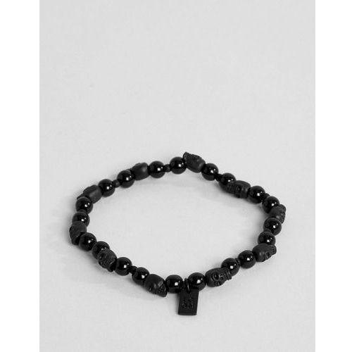 black beaded bracelet with skull bead - black marki Icon brand