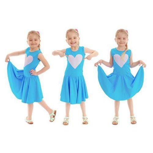 Bajeczna rozkloszowana sukienka dla dziewczynki z motywem SERCE turkusowa